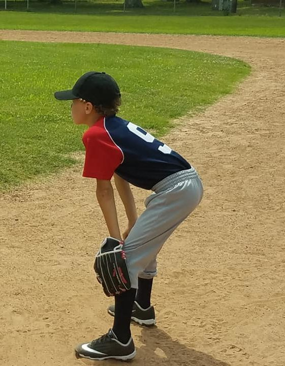 Baseball player in the outfield