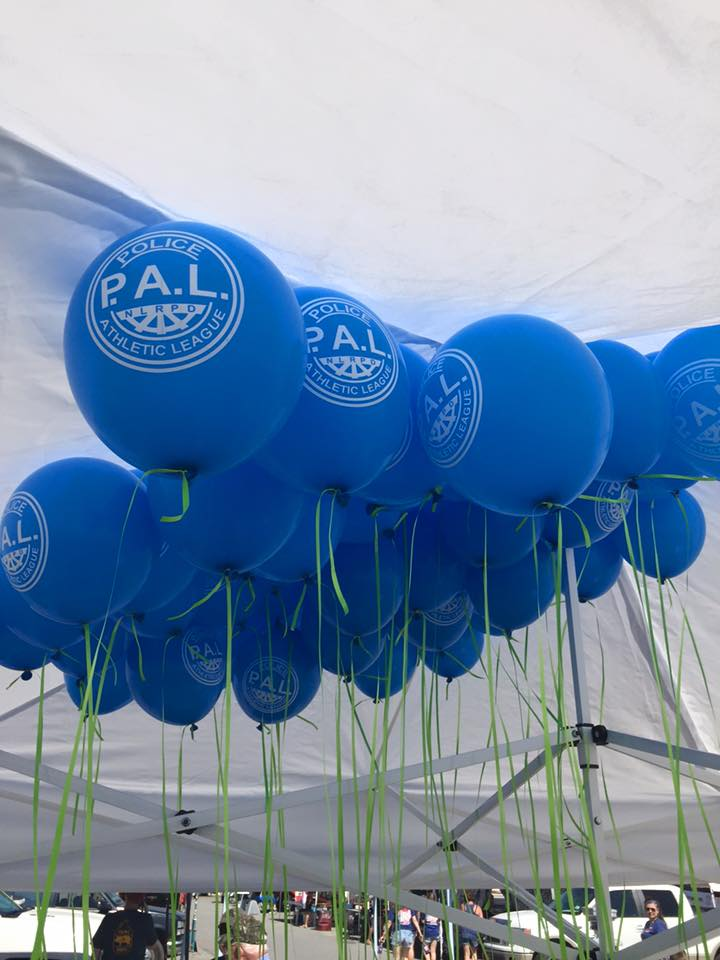 Several blue PAL ballons